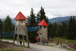 One of the play structures on top of the mountain at the Geisterdorf. Sankt Johann-Alpendorf, Austria.