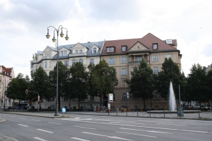 Prinzregentenplatz and building that was once Hitler's Munich residence.  Now a police station.
