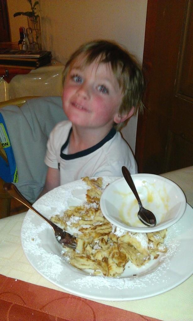 Delicious kaiserschmarrn (special Austrian pancakes).