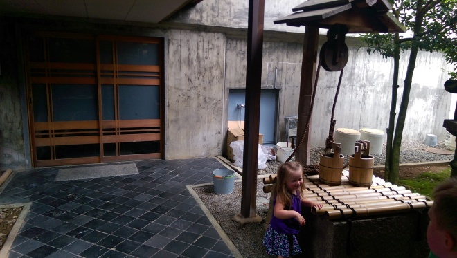 Traditional Japanese house of nobility.  Complete with water well.