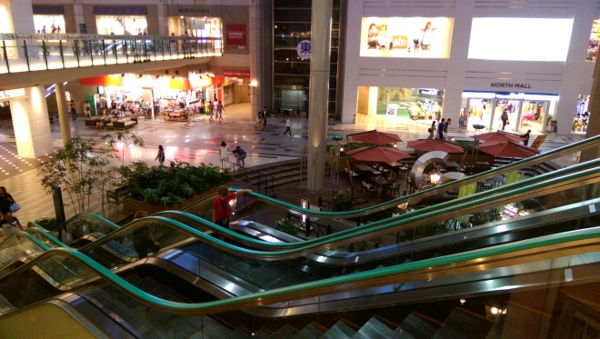 Cool escalator in the Umie shopping mall at Kobe's Harborland.
