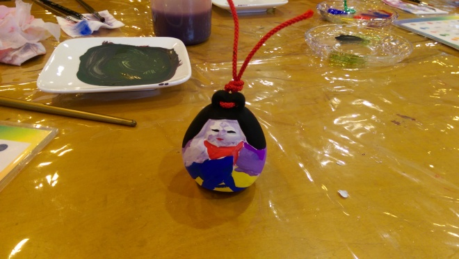 Our Japanese bell doll that my 2 year old and I created.