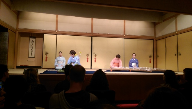 Japanese harp and a flower arrangement demonstration. Gion Corner.