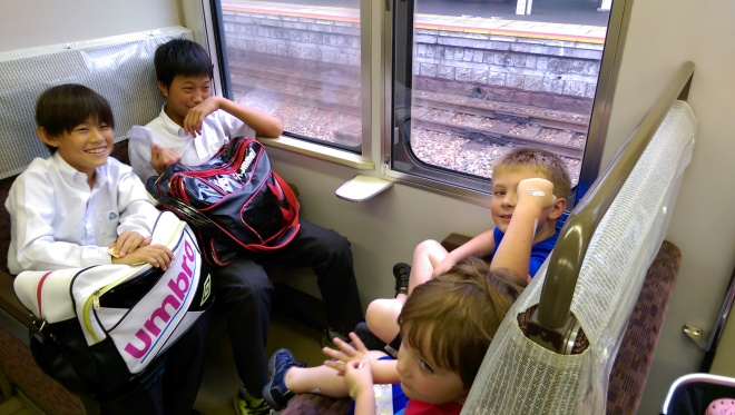 Getting a small chance to interact with some Japanese school children, and to be a bit of an amusement for them.