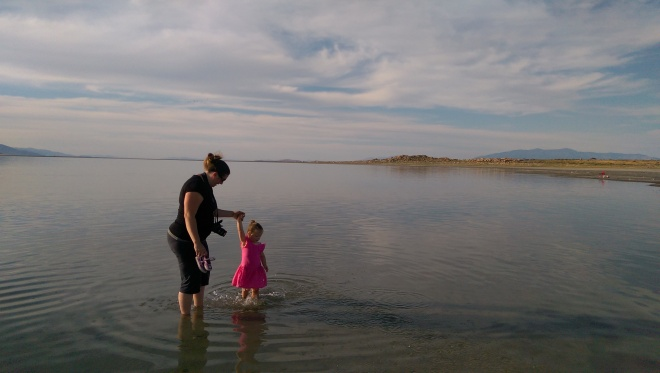 Playing in the Great Salt Lake.